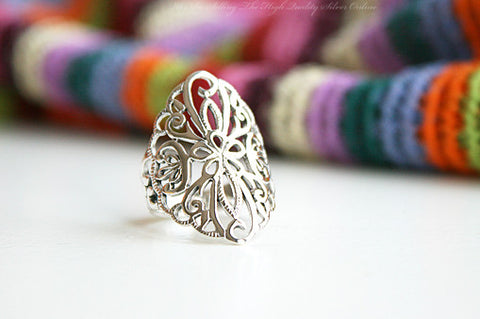 925 Sterling Silver Ring - flower Ring Style Gift Idea Rocker Gothic Woman Jewelry -  Silver ring (SR-041)