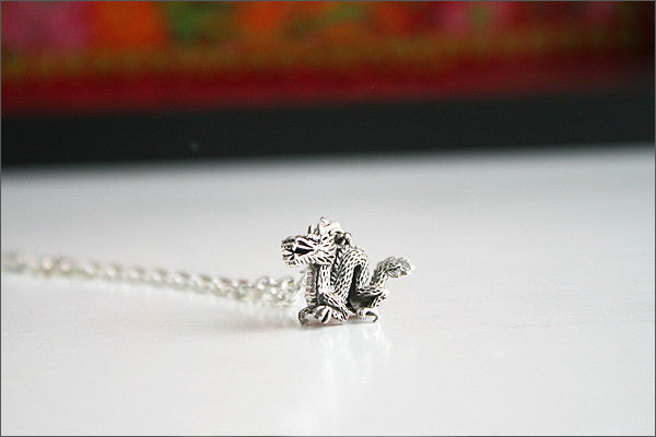 Dragon Pendant - 925 Sterling Silver -   Silver Pendant -  Rocker Gothic Woman Jewelry (P-043)