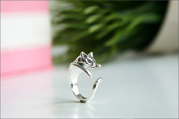 925 Sterling Silver Cat Ring Style Gift Idea Rocker Gothic Woman Jewelry -  Silver ring (SR-079)