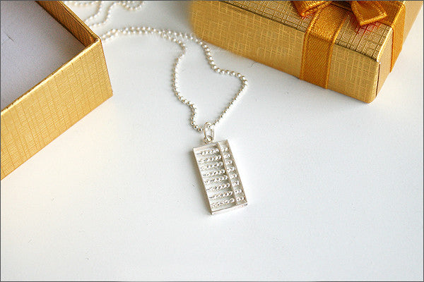 Abacus Pendant - 925 Sterling Silver  - Silver Pendant -  Rocker Gothic Woman Jewelry (P-019)