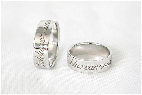 Engraved Ring - Ring 6 mm wide. 925 Sterling Silver with White Gold Plate 3-5 micron Stamped Ring, Personalized Ring (WG-2)