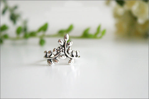 Leaf Ring,Olive Branch Ring - Free Engraved Inside Ring - 925 Sterling Silver-White gold plate-gold plate-Pink gold plate Jewelry (SR-69)