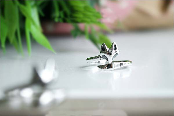 Silver ring - tail adjustable fox ring,ring,animal ring,cute ring,unique, bridesmaid gift, adjustable ring, 925 Sterling Silver (SR-086)