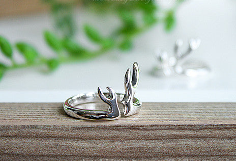 925 Sterling Silver Antler Ring Style Gift Idea Rocker Gothic Woman Jewelry -  Silver ring (SR-084)