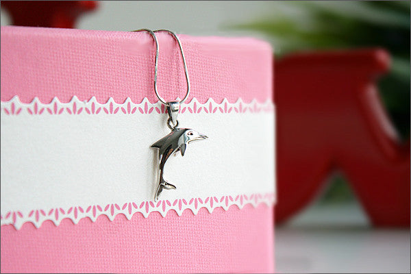 dolphin Pendant - 925 Sterling Silver  -  Silver Pendant - dolphin silver - Rocker Gothic Woman Jewelry (P-024)