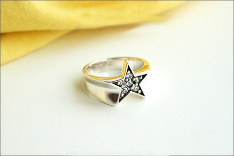 925 Sterling silver Star ring, Star Stacking Ring, Whire Cz, Star band ring, Star Stackable Silver Ring, Dainty Star Ring, Silver Ring (R97)