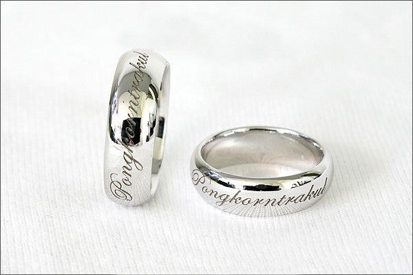Engraved Ring - Ring 6 mm wide. 925 Sterling Silver with White Gold Plate 3-5 micron Stamped Ring, Personalized Ring (WG-4)