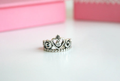 925 Sterling Silver Princess Crown Ring/ Queen Crown Ring Gift Idea Rocker Gothic Woman Jewelry -  Silver ring (SR-077)
