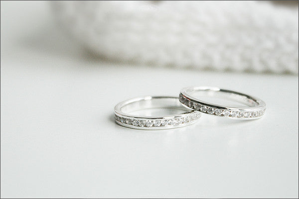 Free Engraved Inside Ring - White Sapphire Full Eternity ring 925 Sterling Silver Or White Gold Plate - stacking ring - wedding band (R05)
