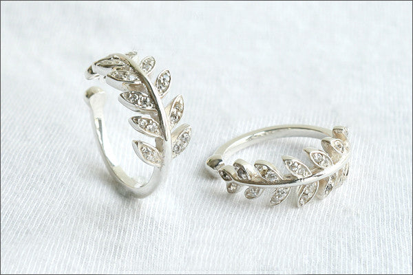 Leaf Ring, Simple leaf knuckle ring, knuckle leaf ring, leaf ring, fern leaf ring, silver fern ring - 925 Sterling Silver (SR-111)