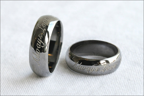 Engraved Ring - Ring 6 mm wide. 925 Sterling Silver with Black Ruthenium Plate 3-5 micron Stamped Ring, Personalized Ring (BG-4)