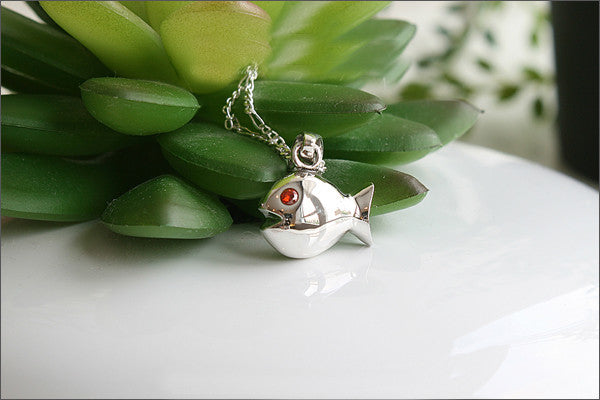 fish Pendant - 925 Sterling Silver  - Silver Pendant - Rocker Gothic Woman Jewelry (P-055)
