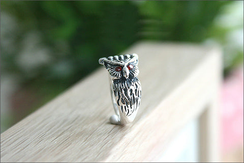 925 Sterling Silver OWL RING Style Gift Idea Rocker Gothic Woman Jewelry (SR-081)