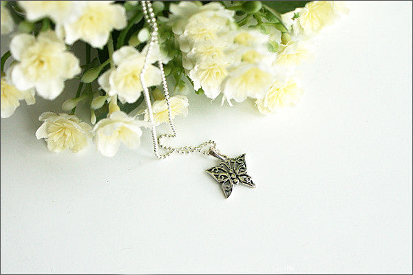 Butterfly Pendant  - 925 Sterling Silver - Silver Pendant -  Rocker Gothic Woman Jewelry (P-013)
