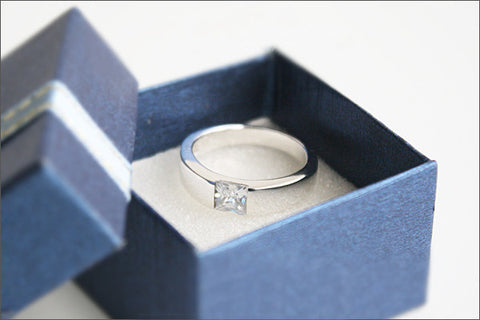 Sterling Silver Swarovski Crystal Engagement Ring Solitaire Promise Ring - 925 Sterling Silver Ring - Engraved Inside Ring  (R91)