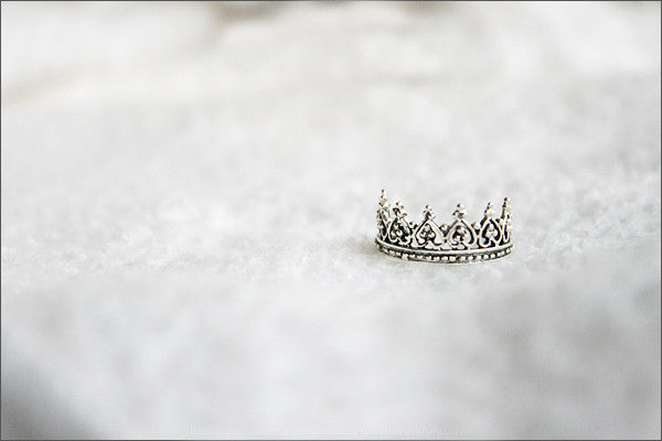 925 Sterling Silver Princess Crown Ring/ Queen Crown Ring Gift Idea Rocker Gothic Woman Jewelry -  Silver ring (SR-060)