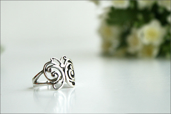 925 Sterling Silver butterfly ring Style Gift Idea Rocker Gothic Woman Jewelry -  Silver ring (SR-036)