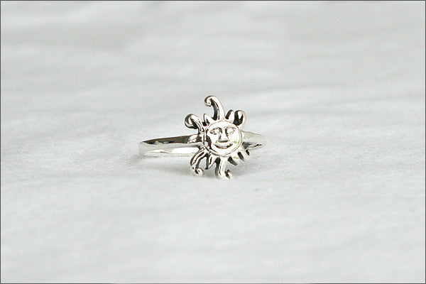 Sun Ring - Silver Sun Ring, Day Ring, Sun Midi Ring, Sun Shing Ring, Simple Sun Jewelry - Nature Jewelry veryday ring - Silver ring (SR-106)