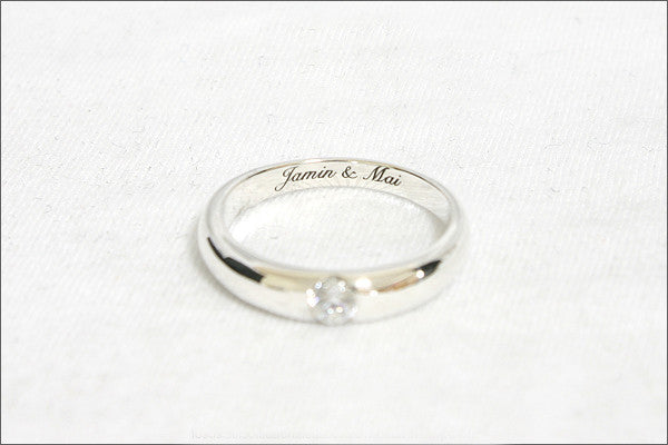 925 Sterling Silver with Swarovski Crystal Ring, Personalized Engraved Inside Ring of the ring for wedding band (R-91)