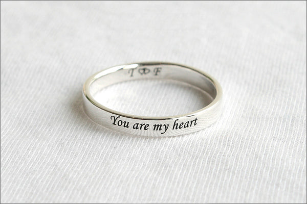 Personalized Ring - 925 Sterling Silver 4 mm Custom Stamped Ring, Name Ring,  Promise Ring, Engraved ring (RB-1)