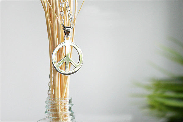 Peace Pendant - 925 Sterling Silver  - Silver Pendant -  Rocker Gothic Woman Jewelry (P-014)
