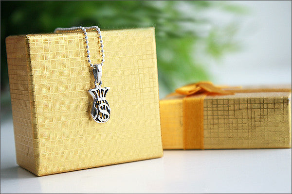 money bag Dollar Pendant - 925 Sterling Silver -  Silver Pendant -  Rocker Gothic Woman Jewelry (P-052)