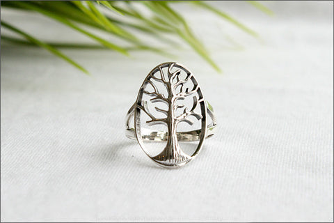 Tree of Life Ring - Silver Tree Ring, Tree Jewelry - Silver Nature Ring, tree of life ring in 925 sterling silver - Silver Ring (R108)