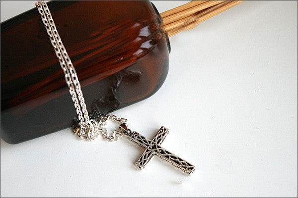 Cross Pendant - 925 Sterling Silver -  Silver Pendant - Rocker Gothic Woman Jewelry (P-009)