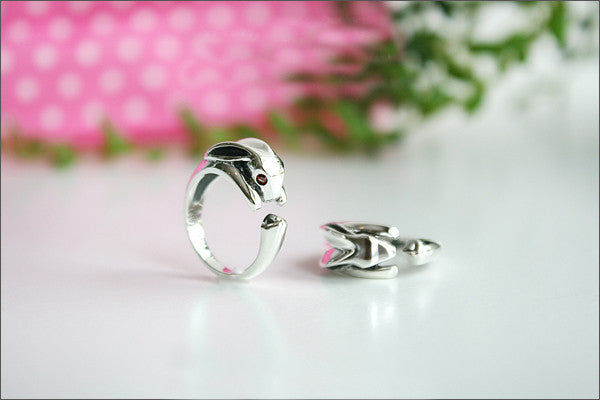 925 Sterling Silver Rabbit ring / Bunny Ring Style Gift Idea Rocker Gothic Woman Jewelry (SR-083)
