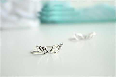 925 Sterling Silver Angel Wing ring Style Gift Idea Rocker Gothic Woman Jewelry (SR-082)