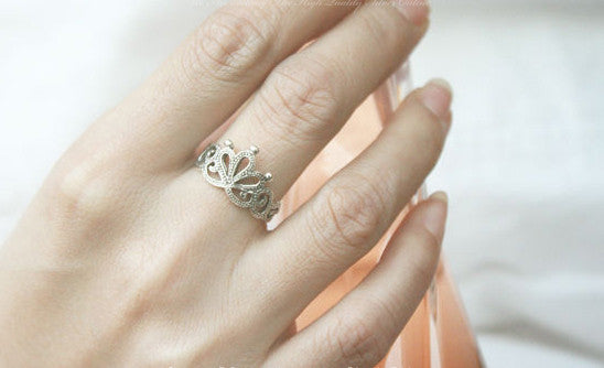 925 Sterling Silver Princess Crown Ring/ Queen Crown Ring Gift Idea Rocker Gothic Woman Jewelry (SR-059)
