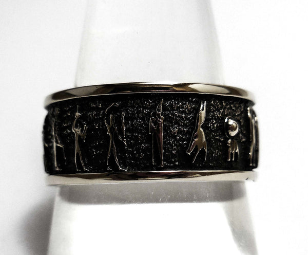 Egyptian Pharaohs Ring, Egyptian Aztec Hieroglyphics Ring in 925 Sterling Silver (R-66)