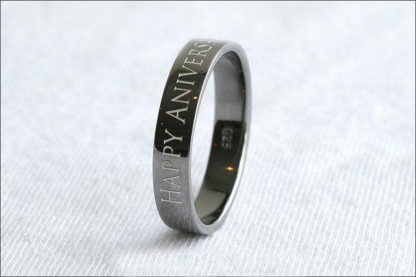 Engraved Ring - Ring 4 mm wide. 925 Sterling Silver with Black Ruthenium Plate 3-5 micron Stamped Ring, Personalized Ring (BG-1)