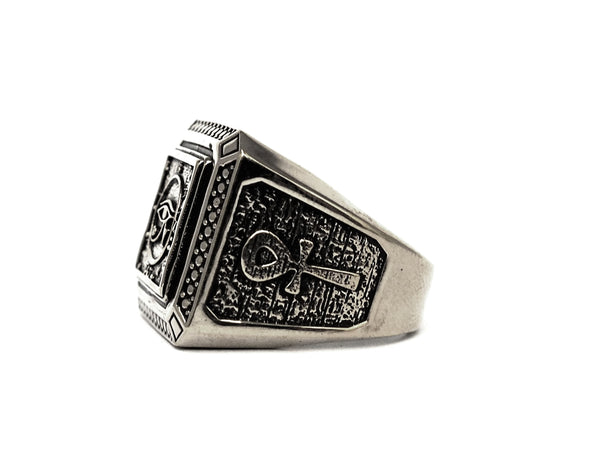 Men Egyptian Eye of Horus Ankh Cross Ring 925 Sterling silver Size 8-15 (R-49)