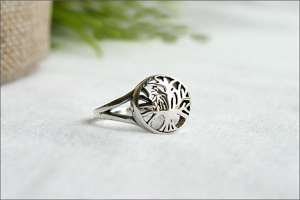 Tree of Life Ring - Silver Tree Ring, Tree Jewelry - Silver Nature Ring, tree of life ring in 925 sterling silver (R107)