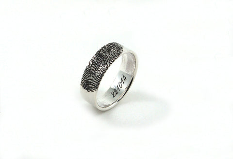 Custom Fingerprint Ring, Sterling Silver Engraving Wedding Band-Fingerprint Ring  6mm,  Personalized Ring - Engraved Jewelry
