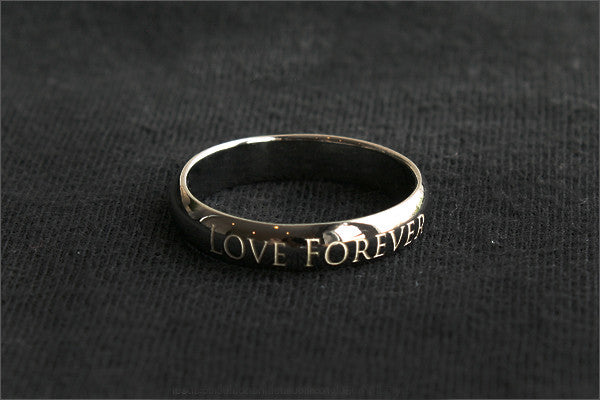 Personalized Ring - Engraved Ring - Ring 4 mm wide. 925 Sterling Silver with Black Ruthenium Plate 3-5 micron Stamped Ring,  (BG-3)
