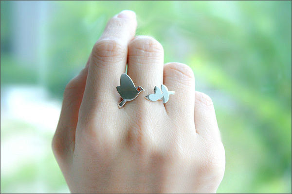 Dove and Leaves Ring, Pigeon and Leaves Ring, dove bird and leaf branch, bird ring, adjustable ring, 925 sterling silver ring (R99)