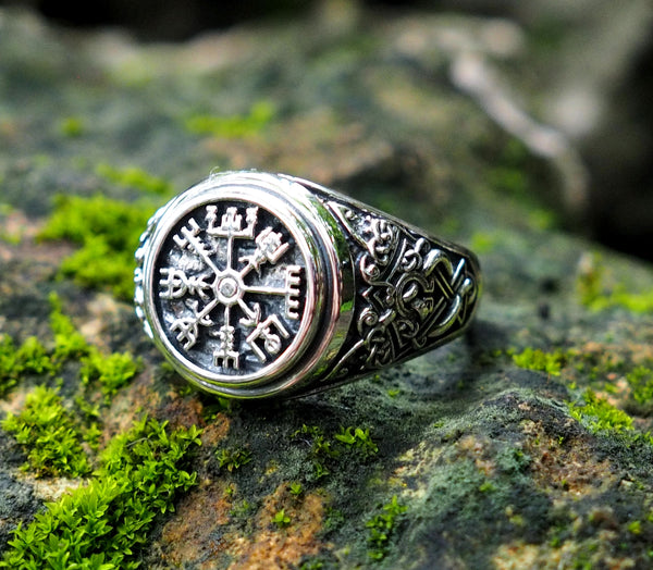 Viking Vegvisir Compass Ring, Norse Viking Ring, 925 Sterling Silver Size 6-15