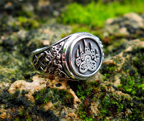 Bear Paw ring, Bear Paw Slavic Ring, Viking Ring 925 Sterling Silver Sz. 6-15