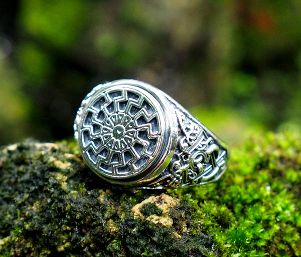 Black Sun Ring, Viking Ring Pagan Scandinavian Norse Viking Jewelry 925 Sterling Silver Size 6-15