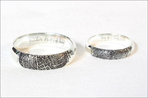 Finger Print Sterling Silver Ring - Fingerprint wedding ring - fingerprint engraved in sterling silver - finger print ring 4mm, 6mm