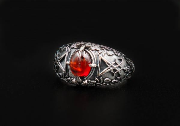 Men Sigil of Lucifer Seal of Satan Devil Demon Ring, Garnet Lucifer Ring 925 Sterling Silver Size 6-15
