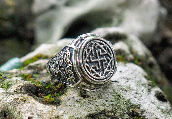 925 Sterling Silver Gothic Slavic Valkyrie Symbol Ring Viking Pagan Jewelry Size 6-15