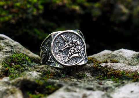 925 Sterling Silver Anubis Ring, Biker Men Punk Anubis Egyptian Eye of Horus Ring Size 6-15
