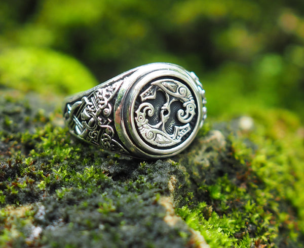Hugin and Munin Ring, Odin's Ravens Ring, Norse Viking Jewelry 925 Sterling Silver size 6-15