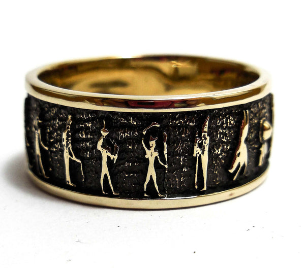 Egyptian Ring, Mural Life of Egyptian Ring In Brass Jewelry Size 8-12 (BR-66)