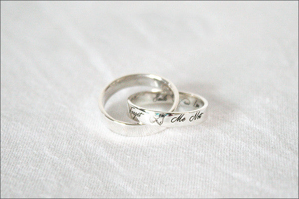 Custom Engraved Ring - 925 Sterling Silver Ring - Twisted ring - Double ring - Engraved ring - Personalized Ring - Promise Ring (ST-01)