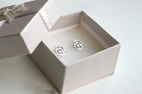 Ohm Earrings - 925 sterling silver ohm earring - yoga - tragus earring - tiny stud earring - ohm studs (E-33)