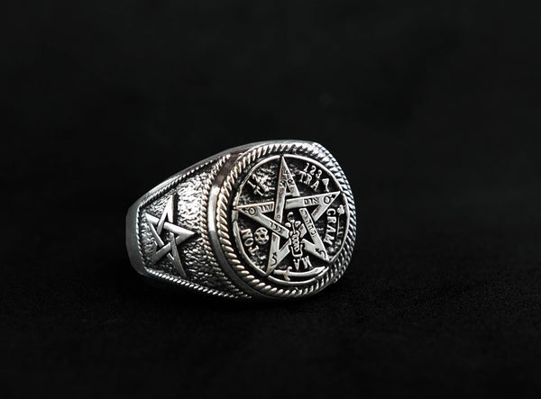 Ceremonial Magic Seal of Solomon Tetragrammaton Ring 925 Sterling Silver Size 6-15